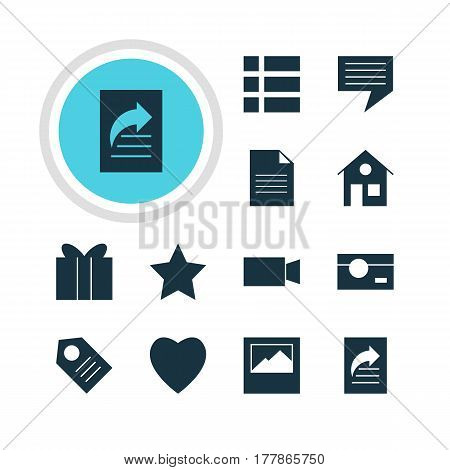 Vector Illustration Of 12 Web Icons. Editable Pack Of House, Coupon, Video Camera And Other Elements.