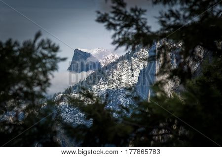 Half Dome after Sunset California Yosemite National Park Winter