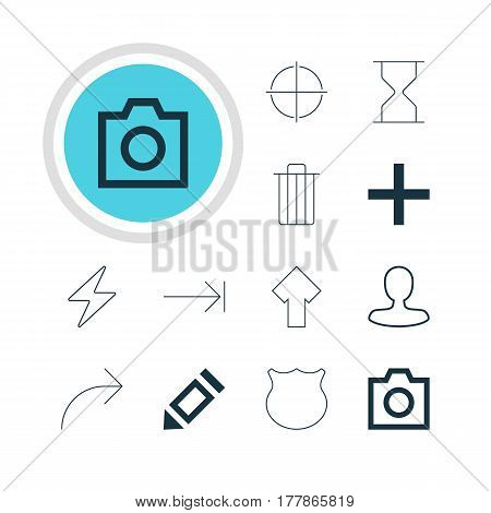 Vector Illustration Of 12 Interface Icons. Editable Pack Of Positive, Man Member, Plus And Other Elements.