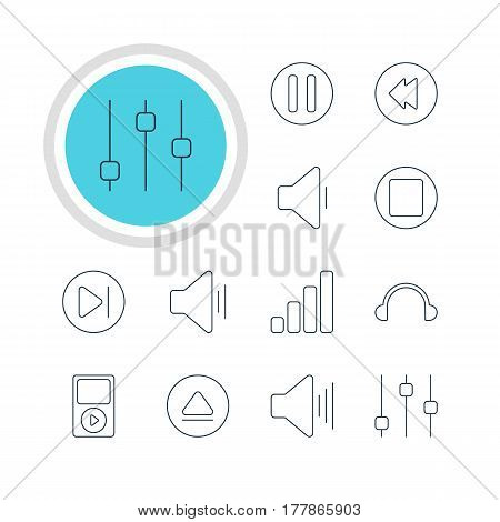 Vector Illustration Of 12 Melody Icons. Editable Pack Of Lag, Rewind, Stabilizer And Other Elements.