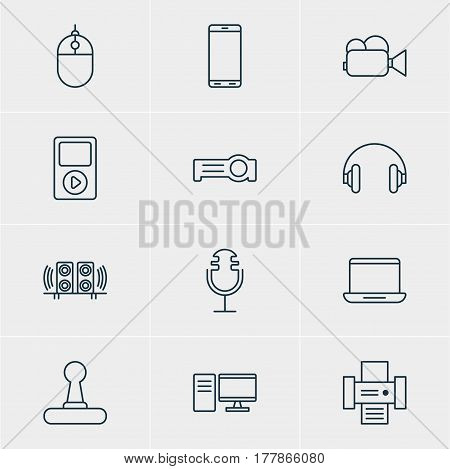 Vector Illustration Of 12 Gadget Icons. Editable Pack Of Media Controller, Game Controller, Headset And Other Elements.
