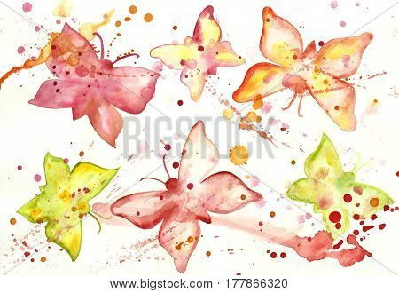 Watercolor background with butterflies. Flying butterfly with blots.