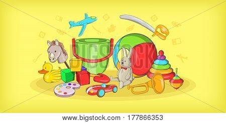 Kids toys horizontal banner concept. Cartoon illustration of kids toys vector horizontal banner for web