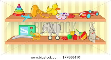 Toys shelf horizontal banner concept shelf. Cartoon illustration of toys shelf vector horizontal banner for web