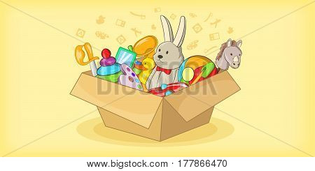 Box with toys horizontal banner concept. Cartoon illustration of box with toys vector horizontal banner for web