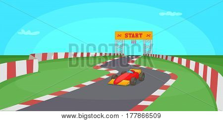 Race competition horizontal banner concept. Cartoon illustration of race competition vector horizontal banner for web