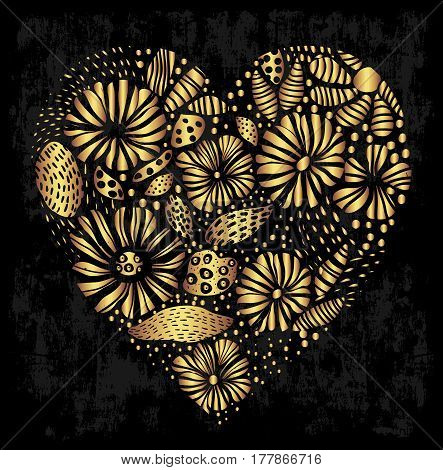 Elegant gold ornamental heart design with floral elements on grungy black background for cards invitations