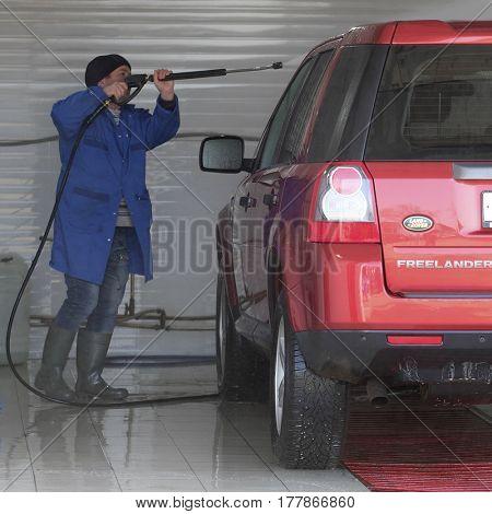 Kaluga, Russia - March, 15, 2017: Car in a car washing station