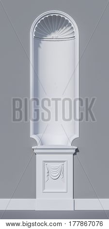 niche in a classical style on a grey stone wall. 3d rendering