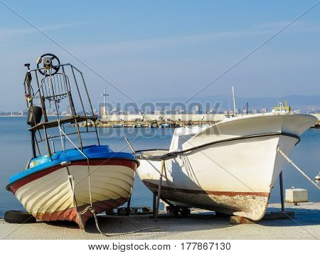 Fishing boat on the seacoast. Old Town Nessebar, Bulgaria