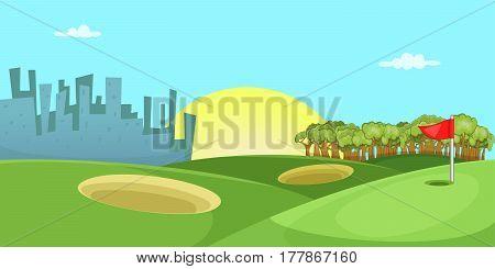 Golf course horizontal banner concept. Cartoon illustration of golf course vector horizontal banner for web