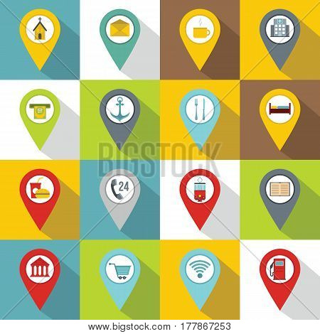 Points of interest icons set. Flat illustration of 16 points of interest vector icons for web