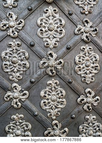 Ornamental Detail of St Nicholas Church door, Prague, Czech Republic