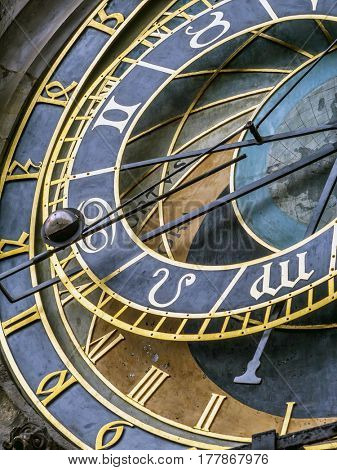 Closeup of Astronomical clock on Old Town City Hall, Prague, Czech Republic