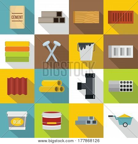 Building materials icons set. Flat illustration of 16 building materials vector icons for web