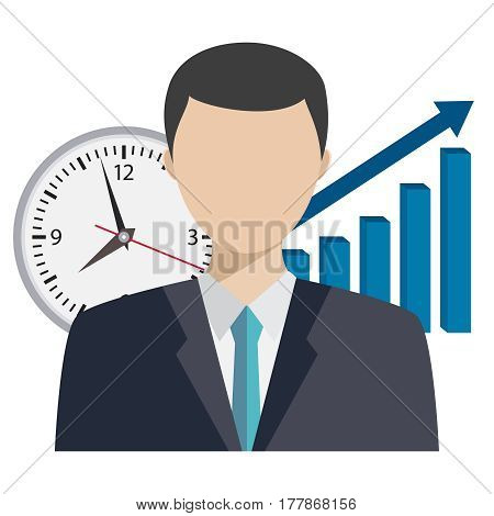 Illustration of businessman with clock and graph behind him. Time management illustration.