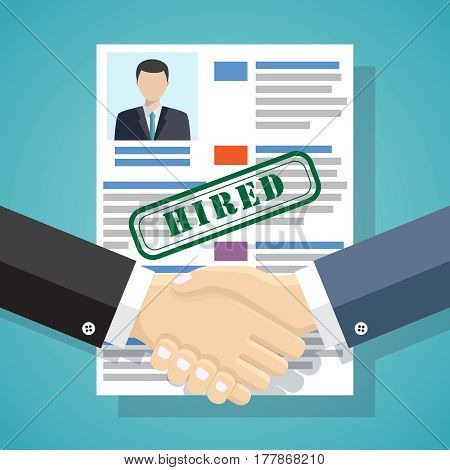 Businessmen handshake with approved resume on the background.