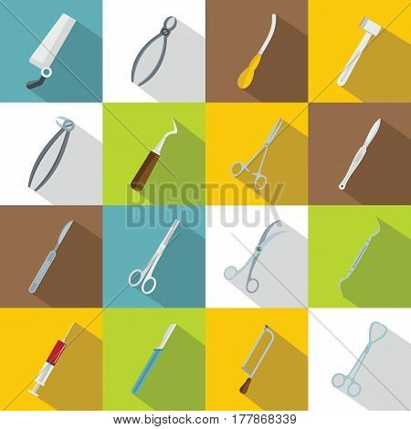 Surgeons tools icons set. Flat illustration of 16 surgeons tools vector icons for web