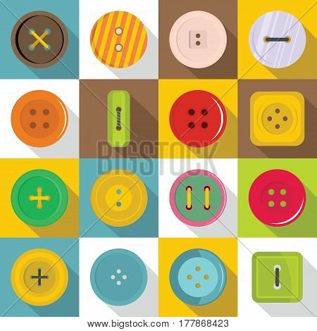 Clothes button icons set. Flat illustration of 16 clothes button vector icons for web