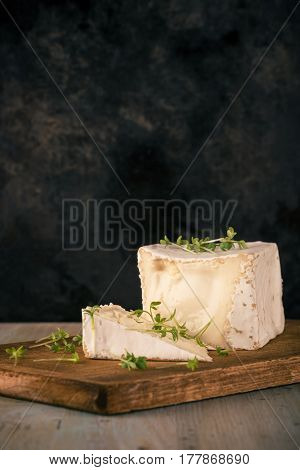 Camembert Cheese With Cube Shape And Cress