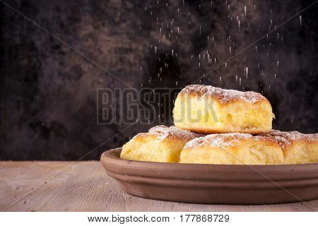 Homemade Traditional Cakes Filled By Curd And Spilled Powder Sugar