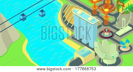 Singapore horizontal banner concept. Cartoon illustration of Singapore vector horizontal banner for web