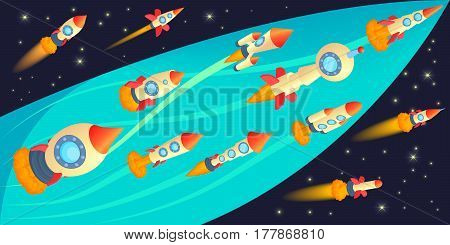 Rockets race horizontal banner concept. Cartoon illustration of rockets race vector horizontal banner for web