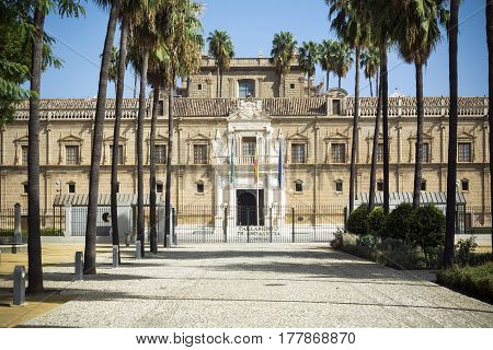 Andalusian Parliament building and grounds in Seville