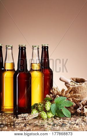 Assortment of fresh beer in bottles, ears of wheat, ripe fruit hops, wooden scoop of grain, brewing ingredients, a glass bottle with a drink, a wooden table, bag of ripe grain