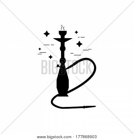 Shisha With Smoking Pipe Black Icon.