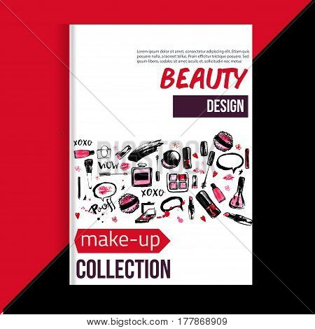 Brochure cover template for makeup artist, studio, business card, brochure and flyer