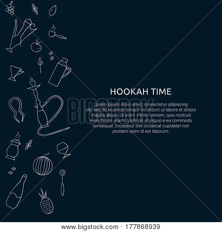Hookah time concept. Template with dark blue background for hookah cafe bar restaurant.