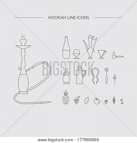 Hookah Accessories Outline Icons.