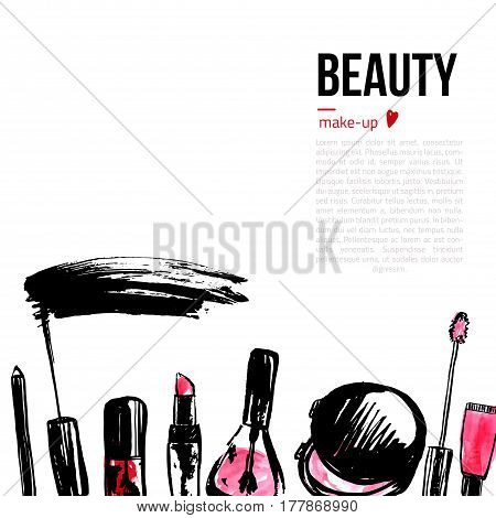 Fashion Cosmetics background with make up objects. With place for your text. Glamour women style.