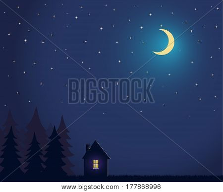 House and tree and night sky with stars and moon House and tree and night sky with stars and moon