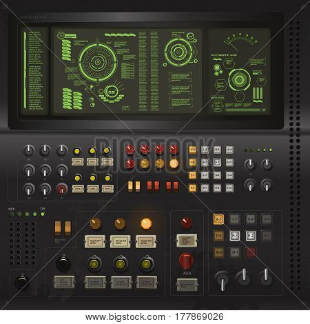 User Interface Creative Template In The Style Of Science Fiction Old Computer