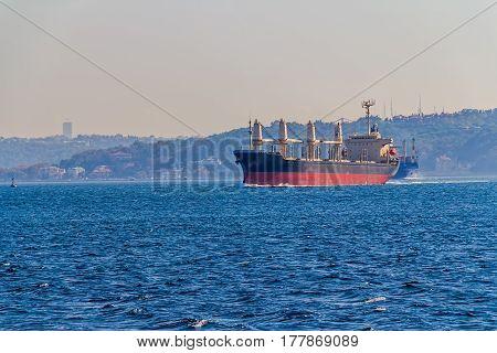 Water traffic at Bosphorus on sunny autumn day.