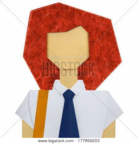 Origami paper student girl woman in white shirt with black tie on a white background