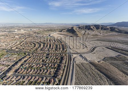 Aerial view of the expanding western edge of Las Vegas near Red Rock National Conservation Area.