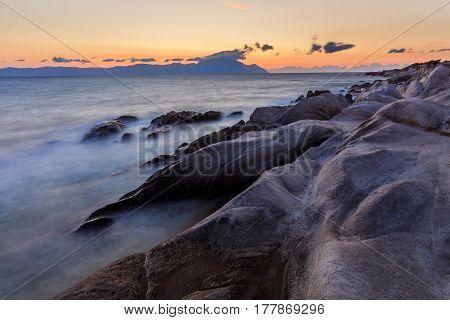 sunrise in Orange Beach. The east coast of Sithonia peninsula Halkidiki Greece