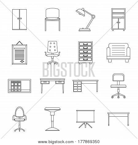 Office furniture icons set. Outline illustration of 16 office furniture vector icons for web