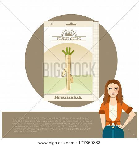 Vector image of the Pack of Horseradish seeds icon