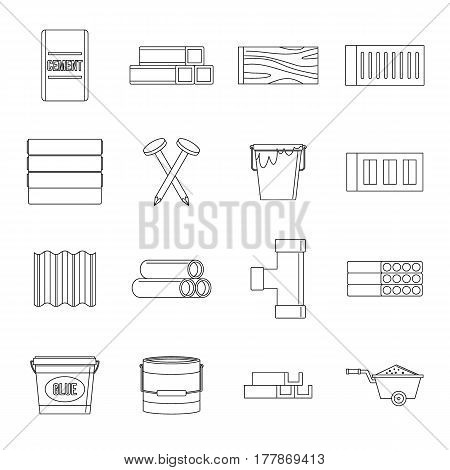 Building materials icons set. Outline illustration of 16 building materials vector icons for web