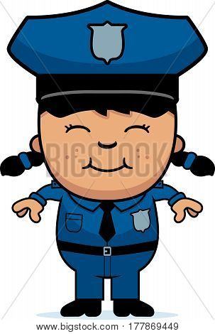 A cartoon illustration of a police officer girl standing and smiling.