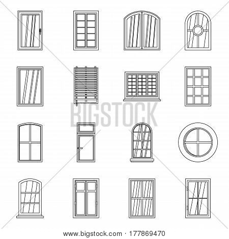 Plastic window forms icons set. Outline illustration of 16 plastic window forms vector icons for web