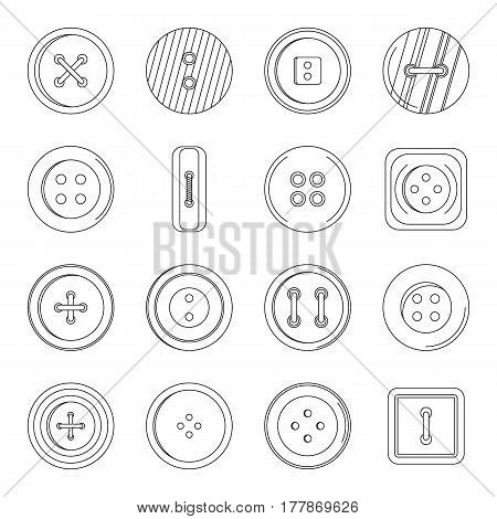 Clothes button icons set. Outline illustration of 16 clothes button vector icons for web