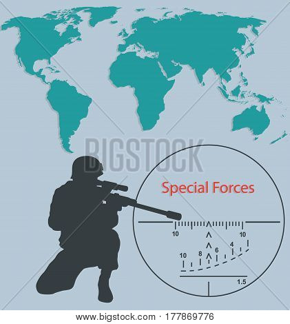 Booklet Special forces sniper and world map.
