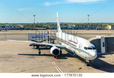 Casablanca, Morocco - February 15, 2017: Royal Air Maroc aircraft in Casablanca Airport. Royal Air Morocco is the Moroccan national carrier and the largest airline
