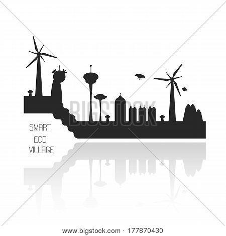 Vector futuristic smart village illustration. Flat image of ecological concept.