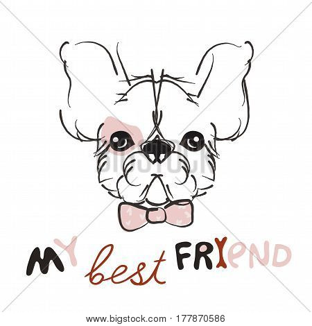 Pretty little puppy- hand drawn doodle vector on white background.Isolated illustration sketch for ready for t-shirt print .